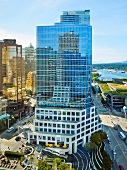 View of Fairmont Waterfront Hotel in Vancouver, British Columbia, Canada