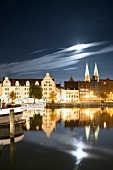 View of illuminated buildings at Lubeck, Schleswig Holstein, Germany