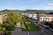 View of Vauban in Freiburg, Germany, aerial view
