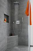 Luxus, offene Dusche, Regenbrause Accessoires orange, Regendusche