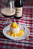 Dark beer parfait with mango