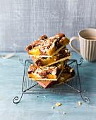 Apricot crumble cake tray bake