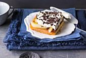 Pear tray bake cake with cream