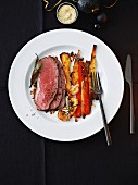 Roast beef with mustard mayonnaise and oven-roasted vegetables