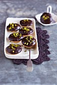 Polenta baci with ricotta and chocolate glaze