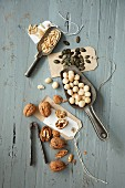 Various nuts and seeds as ingredients for mini Bundt cakes