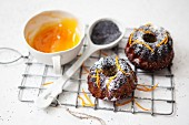 Mini poppy seed and marzipan Bundt cakes with orange zest