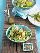 Asparagus salad with lentils and sesame seeds
