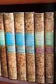 The library at Corvey – antique books with golden decorations on the spines