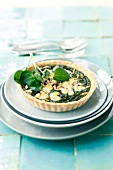 Spinach tart with goat's cheese and pine nuts