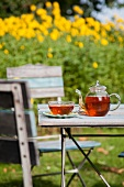 A glass teapot and a cup on a garden table