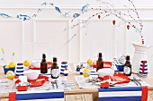 A martime-themed table in red, white and blue