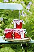 Erdbeerkonfitüre auf Gartenstuhl im Freien