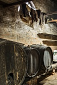 Wooden barrel in an old wine cellar