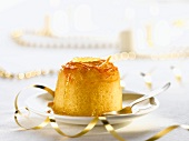 An English pudding with candied orange peel for Christmas dinner