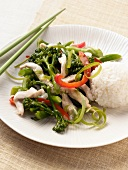 Chicken and Broccolini Stir Fry with White Rice and Chopsticks