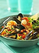 A bowl of paella