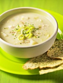 Chicken and leek soup with crispy garlic bread
