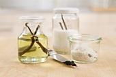Vanilla oil, vanilla sugar and vanilla salt