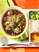 Thai beef soup with various spices