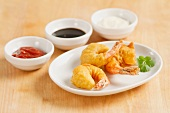 Prawns in tempura batter with dips