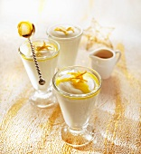 Vanilla mousse with orange sauce