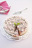 A buckwheat cake with redcurrants