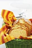 Sponge cake in a bread basket