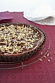 Chocolate tart with slivered almonds (France)