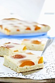 Fried egg cake with apricots