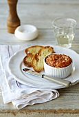 Tomato and crab dip with toasted baguette