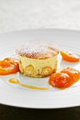 Austrian cheese-filled pancake soufflé with roasted apricots
