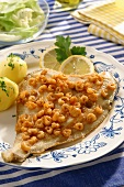 Blankenese style plaice with North Sea prawns (Germany)