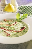 Cream of rocket soup with ham
