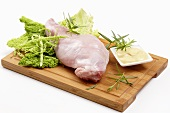 Ingredients for rabbit leg with savoy cabbage