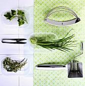 Fresh herbs, a chopping knife, herb scissors and a herb mill