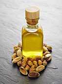 Pistachio oil and pistachios shelled and unshelled