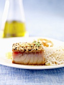 Pan fried tuna fish fillet with peanuts