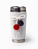 Thermal Stainless Steel Travel Mug with White Knitted Cover