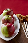 Fresh Apples with Caramel Candies