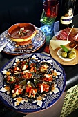 Tapas: mussels, gazpacho and ham with cheese and olives