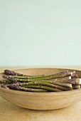 Maine Grown Asparagus in a Wooden Bowl