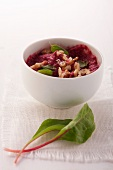 A beetroot dip with walnuts