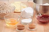 Ingredients for Linzer Plätzchen (nutty shortcrust jam sandwich biscuits with holes on top)