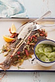 Fried spring plaice with capers and bacon