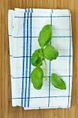 Basil leaves on a tea towel