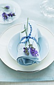 A napkin decorated with lavender flowers