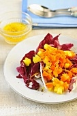 Radicchio salad with carrots and mango