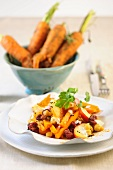 Carrot curry with cranberries and chickpeas