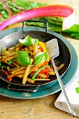 Stir-fried chard and pepper medley